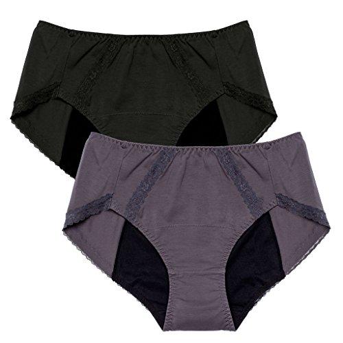 Intimate Portal Women Girls Period Panties Incontinence Leak Proof Menstrual Underwear 2-pk Black Gray 4XL