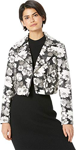 Sam Edelman Women's PU Floral Moto Jacket Black/White Floral Medium