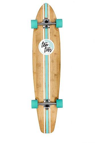 Ten Toes Board Emporium Zed Bamboo Longboard Skateboard Cruiser, 44', Aqua Pipeline