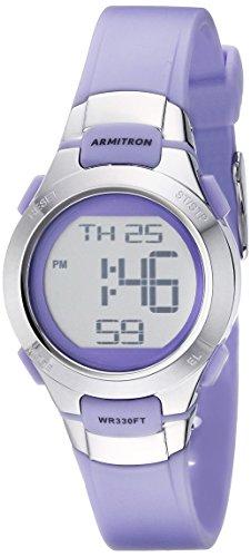 Armitron Sport Women's 45/7012PRSV Purple and Silver-Tone Digital Watch