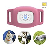 BARTUN Mini Pet Tracker GPS Locator for Dogs Cats 28lb Waterproof IP67 Real Time Activity Monitor AGPS LBS SMS Positioning Tracking Device with Collar Included SIM Card(Pink)