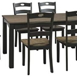 Signature Design by Ashley Froshburg Dining Room Table and Chairs (Set of 7), Black/Gray