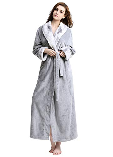 Women Long Robes Soft Fleece Winter Warm Housecoats Womens Bathrobe Dressing Gown Sleepwear Pajamas Top