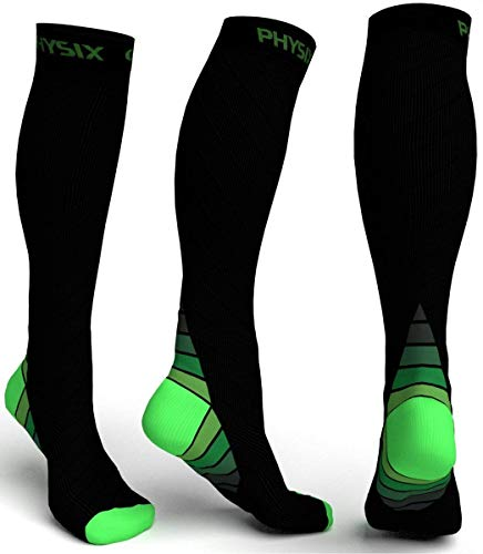 Physix Gear Compression Socks for Men & Women 20-30 mmhg, Best Graduated Athletic Fit for Running Nurses Shin Splints Flight Travel & Maternity Pregnancy - Boost Stamina Circulation & Recovery GRN LXL