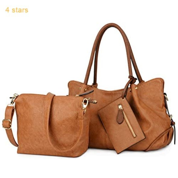 726d72df76f87 UTO Women Handbag Set 3 Pieces Bag PU Leather Tote Small Shoulder Purse  Bags Wallet Strap