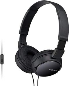 Sony MDR-ZX110AP Wired On-Ear Headphones with tangle free cable, 3.5mm Jack, Headset with Mic for phone calls and 1 Year Warranty – (Black)