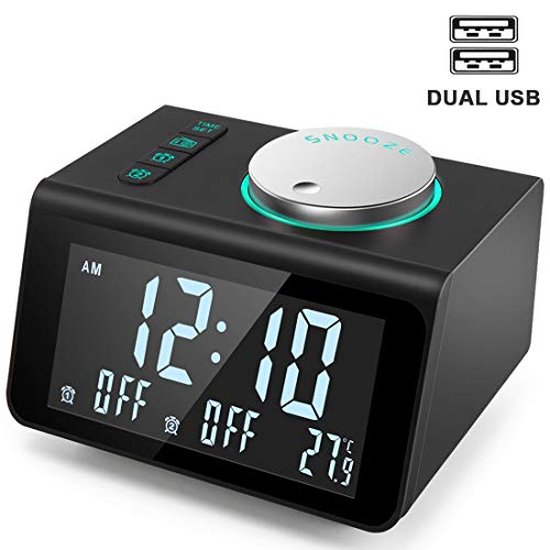 ANJANK Small Alarm Clock Radio with FM Radio,Dual USB Charging Ports,Temperature Display,Dual Alarms with 7 Alarm Sounds,5 Level Brightness Dimmer,Headphone Jack,Bedrooms Sleep Timer