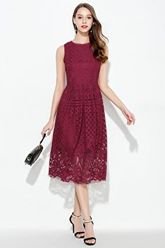 VEIISAR Womens Fashion Sleeveless Lace Fit Flare Elegant Cocktail Party Dress 4