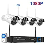 [8CH Expandable] 1080P Wireless Security Camera System, NexTrend 8CH 1080P Outdoor Security Camera System with 4PCS 1080P Wireless Security Camera, Built-in 1TB HDD Home Security Camera System