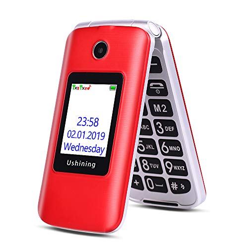 Ushining 3G Unlocked Senior Flip Phone Dual Screen, FM Radio, Easy to Use Mobile Cell Phone, 2.8' LCD and Large Keypad with Charging Cradle (Red)