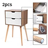 JAXPETY Set of 2 Nightstand 2 Drawers End Table Storage Wood Cabinet Bedroom Accent Side Table (White& Walnut)