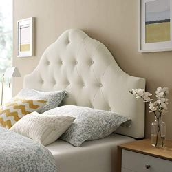 Modway Sovereign Tufted Button Linen Fabric Upholstered Queen Headboard in Ivory