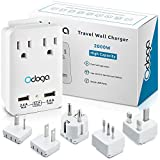 Odoga Travel Adapter Kit – Universal Power Adapter with 2 AC Outlets, 2 USB Ports - International Power Adapters Plugs for Europe, UK, China, Australia, Japan & More