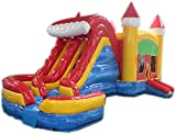 Commercial Grade 29 Foot Red, Yellow & Blue Helix Wet/Dry Combo Bounce House Inflatable