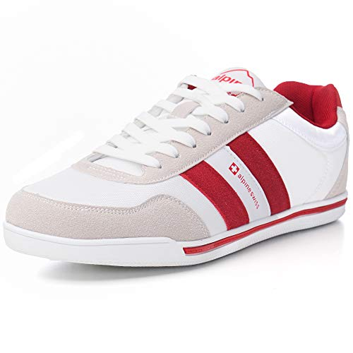 alpine swiss Haris Haris Men's Suede Trim Retro Striped Sneakers, White, 13