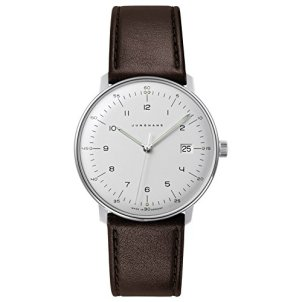 Junghans Men's Max Bill Stainless Steel Quartz Watch with Leather Calfskin Strap, Brown, 20 (Model: 041/4461.00)