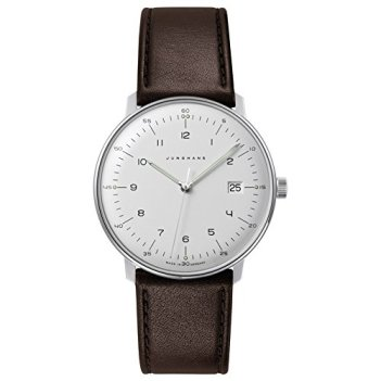Junghans Men's Max Bill Stainless Steel Quartz Watch with Leather Calfskin Strap, Brown, 20 (Model: 041/4461.04)