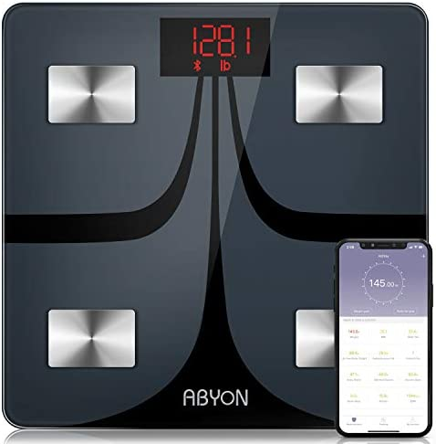 ABYON Bluetooth Smart Bathroom Scales for Body Weight Digital Body Fat Scale,Auto Monitor Body Weight,Fat,BMI,Water, BMR, Muscle Mass with Smartphone APP,Fitness Health Scale 1