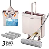 Sponge Mops and Bucket set with 3 Replacement Sponge Heads PVA Sponge Mop with Super Absorbent Easy Clean for Hardwood Floor Masthome