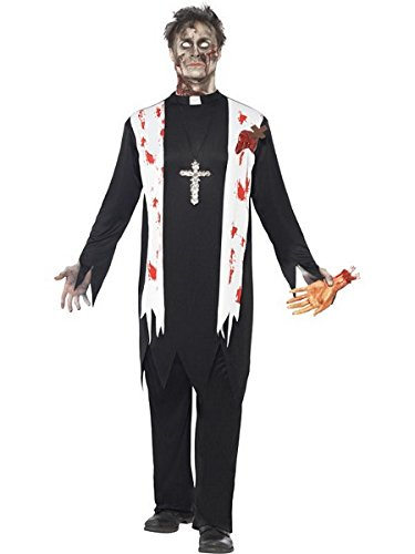 Smiffy's Men's Zombie Priest Costume, Blooded Top, Latex Wound, Collar and pants, Zombie Alley, Halloween, Size L, 38878