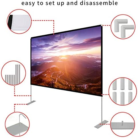 Projector Screen with Stand 120 inch Portable Projection Screen 16:9 4K HD Rear Front Projections Movies Screen with Carry Bag for Indoor Outdoor Home Theater Backyard Cinema Travel