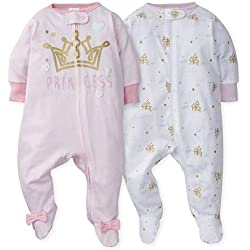Gerber Baby Girls 2-Pack Sleep 'N Play, Princess Arrival, 0-3 Months