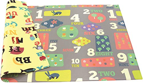 Baby Care Play Mat - Playful Collection (Large, Letters & Numbers) - Play Mat for Infants - Non-Toxic Baby Rug - Cushioned Baby Mat Waterproof Playmat - Reversible Double-Sided Kindergarten Mat ...