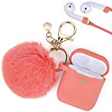 Airpods Case, Filoto Airpod Case Cover for Apple Airpods 2&1 Charging Case, Cute AirPods Silicon Case with Airpods Accessories Keychain/Skin/Pompom/Strap 2019 Summer Series (Living Coral)