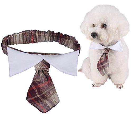 ANIAC Pet Elastic British Style Necktie with Bow Tie Collar Neck Accessories for Cats and Small Dogs 1