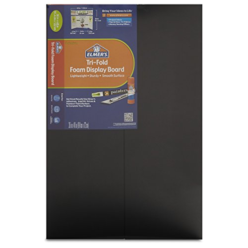 Elmer's Tri-Fold Premium Foam Display Board, Black, 36x48 Inch