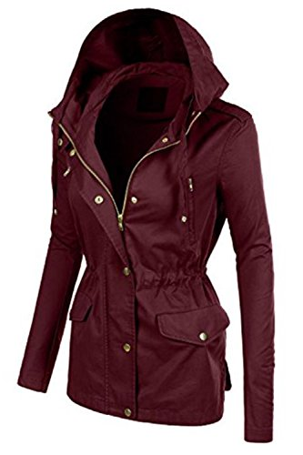 FASHION BOOMY Womens Zip Up Safari Military Anorak Jacket W/Hood 2 Fashion Online Shop gifts for her gifts for him womens full figure