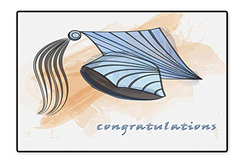 Indoor/Outdoor Floor Mat Silhouette of Group of Graduation Student Ceremony Watercolor Digital Print Peach Ruby Easy Clean 4'x6'