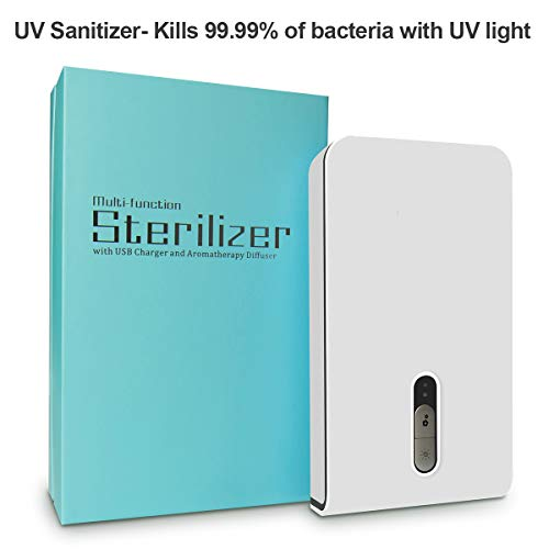 UV Phone Sanitizer, Smartphone Sterlizer for iPhone X,iPhone 8, Samsung Galaxy, Android Device, Pacifiers, Smart Watches, Headphones, Keys-White