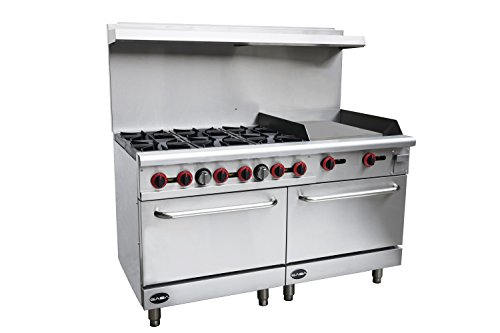 Heavy Duty Commercial 60' Gas 6 Burner Range with 24' Gas Griddle & Bottom Oven