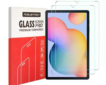 Robustrion Pack of 2 [Anti-Scratch] & [Smudge Proof] [S Pen Compatible] Premium Tempered Glass Screen Protector for Samsung Tab S6 Lite 10.4 inch SM-P610/615 [Bubble Free]