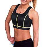 CtriLady Women's High Impact Neoprene Wetsuit Crop Tank Top Full Cup Sport Bra Vest for Surfing Snorkeling Swimming Paddling (Black Yellow Wetsuit top, Large)