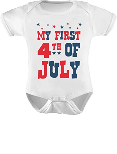 Tstars My First 4th of July Baby Boy Girl Outfit American Flag USA Baby Bodysuit 6M White