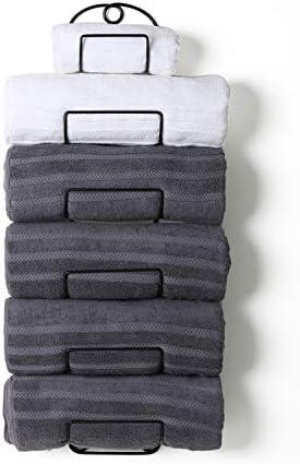 SODUKU Towel Rack Wall Mounted Metal Wine Rack Towel Shelf for Bathroom Black