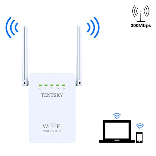 TENTSKY Network Wifi Range Extender 300Mpbs Wireless Booster Mini Repeater/AP Wifi Signal Booster and Access Poin with High Gain Dual External Antennas and 360 degree WiFi Coverage (White)