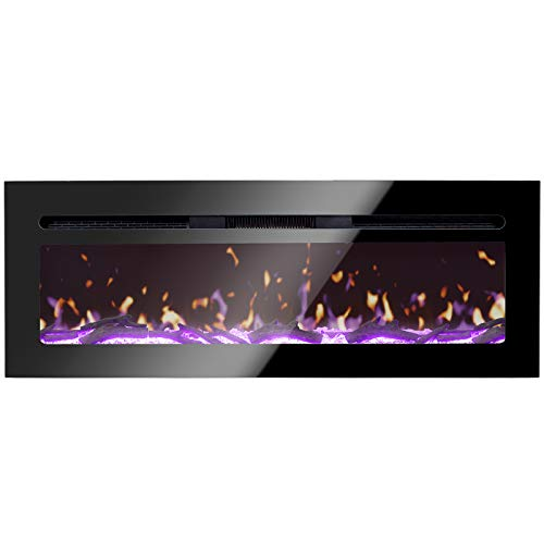 BizHomart-Doris-Electric-Fireplace-Recessed-and-Wall-Mounted-for-2X6-Stud-Log-Crystal-Remote-Control-with-Timer-1500-Watt-Heater-48-Black