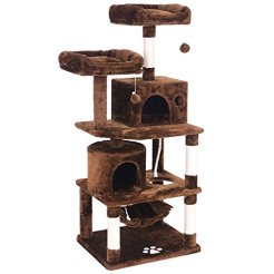 BWISHOME-Cat-Tree-with-Sisal-Scratching-Posts-2-Condos-Plush-Perches-Jingly-Balls-and-Hammock-Cat-Condo-Tower-Furniture-Kitty-Kitten-Activity-Center-Pet-Play-House-Brown-MMJ01Z
