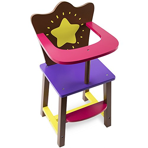 Star Bright Colorful Doll High Chair, Fits 18' American Girl Dolls by Imagination Generation