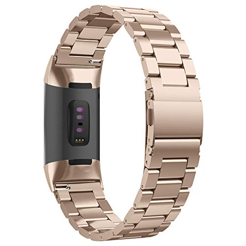 UMTELE Metal Band Compatible with Fitbit Charge 3 & Charge 3 SE, Classic Stainless Steel Link Bracelet with Adjustable Clasp Replacement Band for Fitbit Charge 3 SE (Rose Gold)