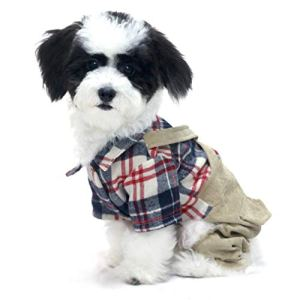 Trasen Pet Dog Clothes Plaid Shirt Overalls Pants Button Closure Design for Puppy Cat Small Dogs Likes Bulldog Teddy Yorkshire