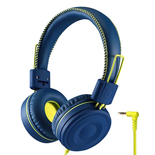 POWMEE M1 Kids Headphones Wired Headphone for Kids,Stereo Tangle-Free,3.5MM Jack Wire Cord On-Ear Headphone for Children (Blue)
