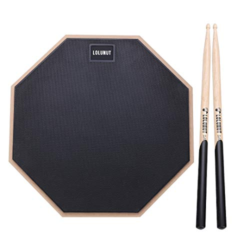 LOLUNUT 12 Inch Silent Drum Pad, 2-Sided Dumb Drum Beginner Rubber Practice Pad, with 5A Drum Sticks