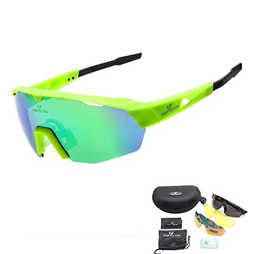 TOPTETN Polarized Sports Sunglasses with Interchangeable Lenes for Men Women Cycling Running Driving Fishing Golf Baseball Glasses (Black Green)