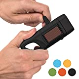 Rechargeable Flashlight with Solar Power & Hand Crank: High Lumen LED's, Tactical Grip, Mini Keychain Carabiner for EDC & Outdoor Camping (Tactical Black)