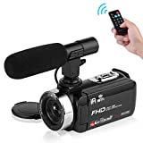 Seree Camcorder Video Camera Full HD 1080P WiFi Vlog Camera Night Vision Digital Camera with External Microphone Vlogging Camera Video Camera for YouTube
