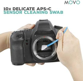 Movo-Deluxe-Essentials-DSLR-Camera-Cleaning-Kit-PRO-with-LED-Loupe-10-APS-C-Swabs-Sensor-Cleaning-Fluid-Air-Blower-Lens-Pen-Soft-Brush-2X-Small-and-2X-Large-Microfiber-Cloth-and-Carrying-Case